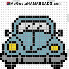 VW Beetle hama perler beads pattern by paige. , VW Beetle hama perler beads pattern by paige Beaded Cross Stitch, Cross Stitch Charts, Cross Stitch Embroidery, Cross Stitch Patterns, Hama Beads Patterns, Beading Patterns, Crochet Patterns, Broderie Simple, Pixel Crochet