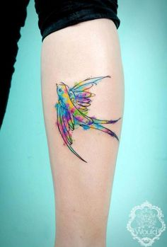 Watercolor Flying Bird Tattoo Design For Leg