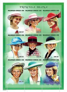 Princess Diana Postal Commemorative Sheet Issued By Mozambique, Diana - Princess Of Wales 1961 - 1997.
