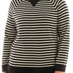 a.n.a. women's sweater Light weight, black and off white/gray stripes. 5x sticker still attached. a.n.a Sweaters Crew & Scoop Necks