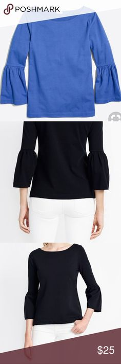 J CREW BELL SLEEVE T-SHIRT 5-Star review at JCrew.Com! The perfect every day or every night T-shirt. Comfortable and flattering.   BLUE OPTION ONLY. BLACK STOCK PHOTO IS TO SHOW FIT.   Features: Cotton  Slim fitting  Long Sleeve J. Crew Tops Tees - Long Sleeve