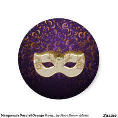 #Masquerade #Purple&Orange #Moon&Stars #SmallRoundStickers by #MoonDreamsMusic #SheetOf20 #MasqueradeMask #HalloweenStickers