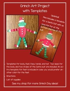 Updated 12/4 to include a Santa suit in two styles (with or without a collar)! Grinch Day is here! We started Grinch Day last year and have come up with a few more activities to include into our unit this time around. Students will use this art project to make the Grinch.