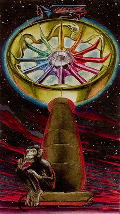 The Wheel of Fortune - Initiatory Tarot of the Golden Dawn by Giordano Berti, Patrizio Evangelisti Tarot Card Decks, Tarot Cards, Tarot Prediction, Epic Of Gilgamesh, Tarot Major Arcana, Love Tarot, Tarot Learning, Wheel Of Fortune, Tarot Spreads