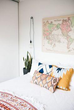 Home accessory: boho decor college pillow boho pillow map print wall decor poster blanket bedroom