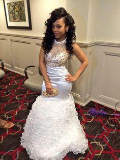White Gold Mermaid Backless Prom Dresses Ruffles Beaded Rhinestones Evening Gowns