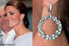 The Duchess also has a pair of blue topaz and diamond hoops by Ms. McDonough. They're very eye-catching and add youthful glamour to any look. Duchess Kate: Jewellery