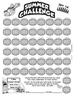 Captain Underpants Box Tops for Education Collection Sheet 50 Summer Challenge