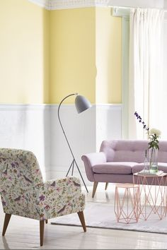 Eye-catching florals that instantly add style and character to any living room, here you can pair a floral printed armchair with a pale pink sofa for a sophisticated look.