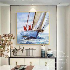 Abstract Ocean Painting, Boat Painting, Hand Painting Art, Oil Paintings, Original Paintings, Sea Art, Hand Art, Handmade Art, Canvas Art