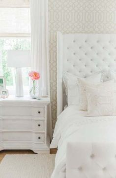 Step inside Monika Hibbs dreamy white bedroom redesign with us today! Bedroom Wallpaper White, Wallpaper Headboard, All White Bedroom, Trendy Bedroom, Home Bedroom, Girls Bedroom, Diy Bedroom Decor, Home Decor, Master Bedroom