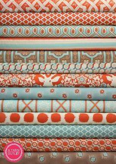 orange and aqua fabrics