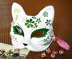 【コスプレ】手作り 狐のお面 緑 Fox Halloween Costume, Japanese Fox Mask, Kitsune Mask, Japanese Mythology, Mask Painting, Cat Mask, Cool Masks, Masks Art, Drawing Clothes