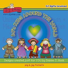 DJ's 'Kids Around the World' is all about connecting & sharing different cultures. This download includes over 40 different images that will bring the whole wide world together in SMILES!  Go to product: http://www.djinkers.com/kidsaroundtheworld.html