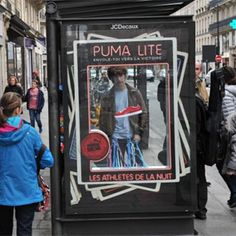 Street Marketing para la Puma Lite en las marquesinas de autobuses de París.