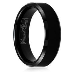 EQUINOX-7MM  Black 7mm Tungsten Carbide Domed Wedding Band Ring- Eternal Bond