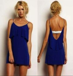TBAGS LOS ANGELES RUFFLE FLAP DRESS WITH WHITE LEATHER BRAID ROYAL BLUE $158- CALL SPLASH TO ORDER 314-721-6442