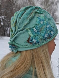 Moss Green Amp Oatmeal Knitted Felt Hat With Freehand Ribbon