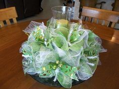 Elegant Centerpieces Using Deco Mesh | Deco Mesh Green and White Christmas Table Centerpeice