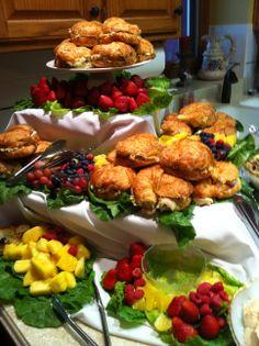 Californos Wedding Shower with Chicken Salad Sandwiches Fruit and Chocolate Sauce