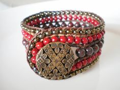 Boho Chic Jewelry Beaded Leather Cuff Bracelet Jasper and Riverstone via Etsy