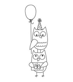 """Party Owl Rubber Stamp 1.5""""x4"""""""