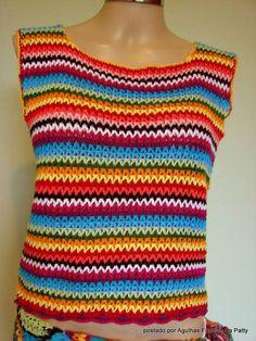 BLusa multicolorida que pode ser usada como regata ou colete. Feita em linha 100% algodão Tam M R$ 115,00