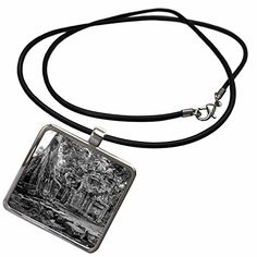 3dRose KIKE CALVO Asian Cambodia Angkor Wat and Buddhist Collection  Black and White Theravada Buddhism from Phras Ang Tep Monastery at Cambodia  Necklace With Rectangle Pendant ncl_179837_1 * You can find out more details at the link of the image.
