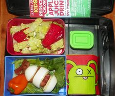 hard boiled egg speared w/ bacon & pepperjack cheese, sweet pepper, strawberry-feta salad w/ balsamic dressing, & apple juice:)