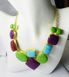 New Hot Fashion Jewelry Multi Gemstone Brass Gold Vermeil Choker/Chunky Necklace #Handmade #Bib