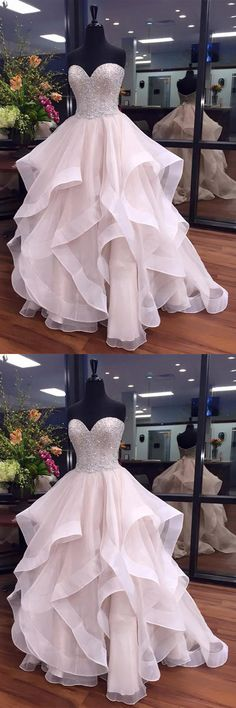 Ball Gown Prom Dresses Long, 2018 Formal Dresses Sweetheart Organza with Beading, Modest Evening Party Dresses Cheap Online