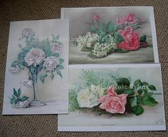 3 Print s ROSES CP214 Roses Paul de Longpre by VictorianRosePrints, $12.99