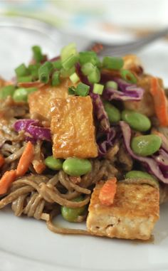 Soba Noodles and Crispy Tofu with Spicy Peanut Sauce
