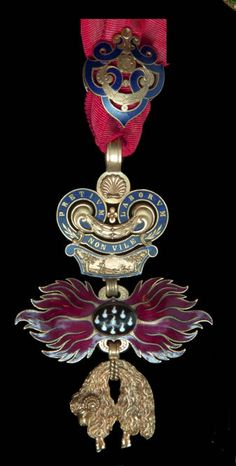 """Order of the Golden Fleece.  Collector's copy of the neck badge.  For a comprehensive sampling of other Imperial Austrian Military orders, decorations and medals, see the album entitled: """"WW 1:  Austrian Military Medals & Uniforms""""."""