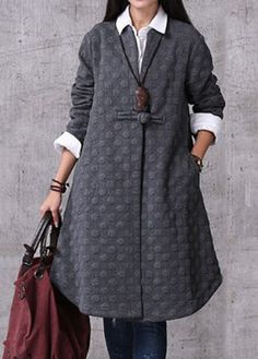 Curved Chinese Frog Button Long Sleeve Grey Coat on sale only US$48.97 now, buy cheap Curved Chinese Frog Button Long Sleeve Grey Coat at liligal.com