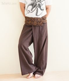 Premium Cotton Thai Fisherman Pants with Tribal Pattern (Brown SOL) Thai Fisherman Pants, Ideal Fit, Pants Pattern, Pattern Design, Harem Pants, Uniform Ideas, How To Make, How To Wear, My Style