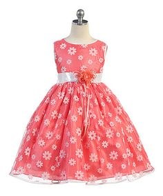 Coral & White Daisy Bow Mesh A-Line Dress - Toddler & Girls