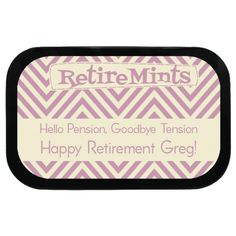 Wavy Personalized Retirement Mint Tins, say goodbye tension and hello pension! #retirement #partyideas
