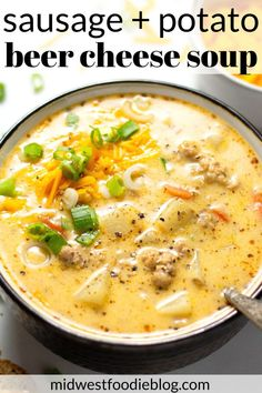 Beer Cheese Potato Soup with Sausage This hearty comforting beer cheese potato soup combines the best of both worlds marrying the timeless flavors of sausage and potato. Healthy Recipes, Chili Recipes, Cooking Recipes, Healthy Soups, Kitchen Recipes, Sausage Potato Soup, Potato Meals, Best Potato Soup, Pasta Casera