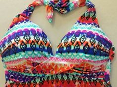 ana Size 14 Bathing Suit Top Halter Boho Multicolor Print Tankini Covers Torso  #ana #Suit Summer Fun For Kids, Cool Kids, Beach Gear, Cute Clothes For Women, Bathing Suit Top, Beach Pool, Cropped Cardigan, Swimsuit Tops, Swimsuits