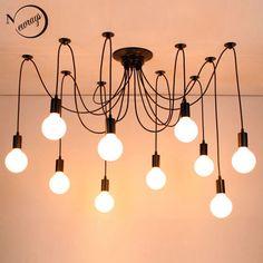ede6136059c Modern big Spider Industrial black vintage pendant Lamp Loft led 14 Lights  E27 pendant lights for