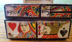 Folk art playing card themed box.