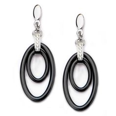 Women's Stainless Steel Double Oval Black Ceramic with CZ Dangle Earring Metal Jewelry, Unique Jewelry, Stainless Steel Jewelry, Diamond Bracelets, Diamond Pendant, Women's Earrings, Dangles, Jewelry Design, Rose Gold