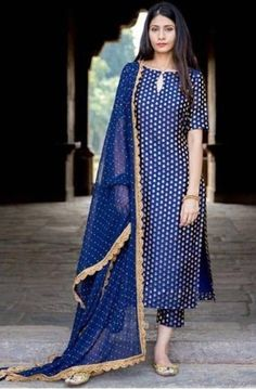 A straight cut silk kurta , teamed with narrow silk brocade pants and georgette dupatta with lace. Look for the Navy Blue Brocade Set… Salwar Designs, Silk Kurti Designs, Kurta Designs Women, Kurti Designs Party Wear, Salwar Kameez Neck Designs, Punjabi Suit Neck Designs, Designer Kurtis, Designer Salwar Kameez, Indian Designer Suits