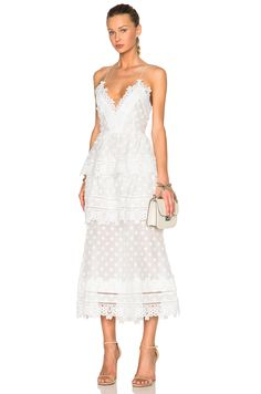 Self-portrait Ivy Lace Trim Midi Dress in White styled with Valentino rockstud flap bag and nude heeled sandals