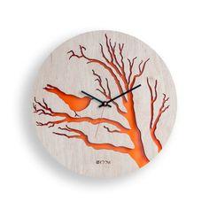 Modern Wall Clock Bird orange  Large Wall Clock