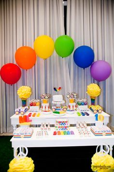 Rainbow Party with So Many Cute deas via Kara's Party Ideas Diy Rainbow Birthday Party, Rainbow Parties, 4th Birthday Parties, Rainbow Theme, Rainbow Baby, Birthday Ideas, 5th Birthday, My Little Pony Party, Fiesta Little Pony
