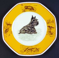 """8 1/4"""" Salad/dessert Plate in the Chasse-Yellow pattern by Hermes China - Featuring Scottish Terrier"""