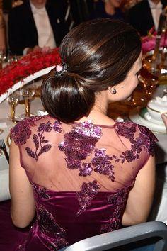 Sofia Hellqvist's hair detail during the Nobel Prize Banquet 2014 at Concert Hall in Stockholm, Sweden