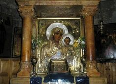 "The wondrous icon of Panagia ""Ierosolymitissa"" (""Lady of Jerusalem""), enthroned in the Holy Tomb of the Theotokos, Gethsemane ( source ) Jesus Father, Mama Mary, Blessed Mother Mary, Heaven Sent, Holy Family, St Joseph, Virgin Mary, Ikon, Holi"